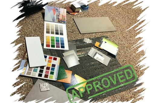 Approved flooring and paint samples