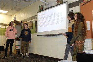 students presenting to class